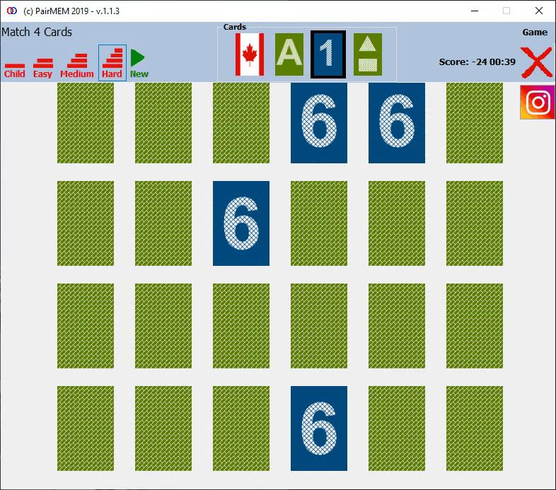 PairMem Free Memory Game, Numbers, Hard Level