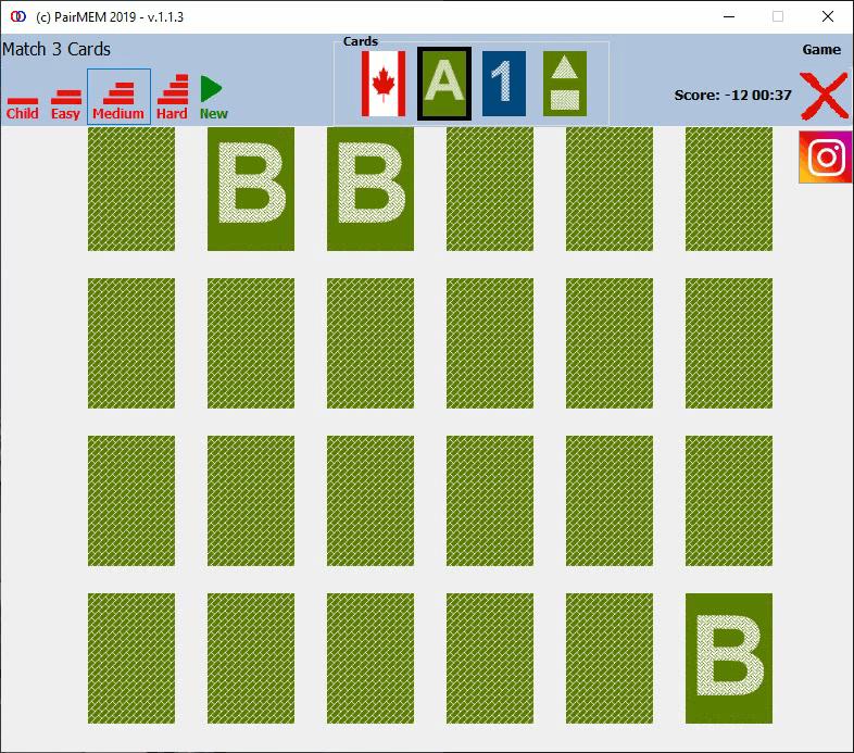 PairMem Free Memory Game, Letters, Hard Level