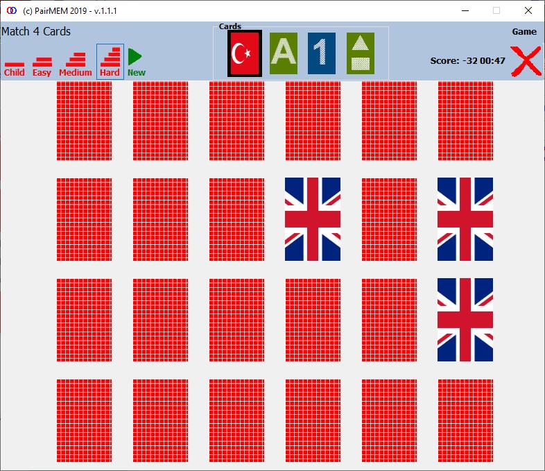 PairMem Free Memory Game, Flags, Medium Level