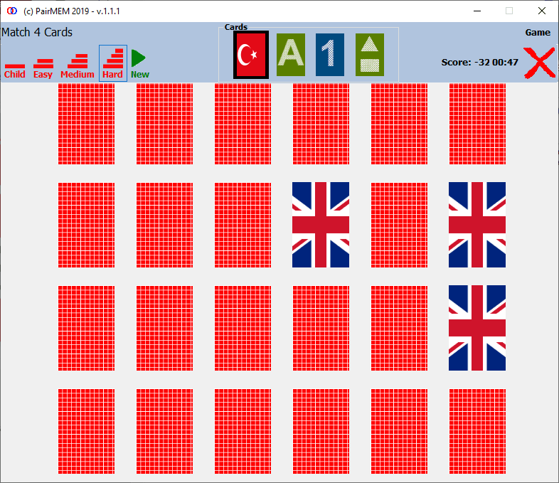 PairMem Free Memory Game Flags, Hard Level Photos - (Match 4-Cards)