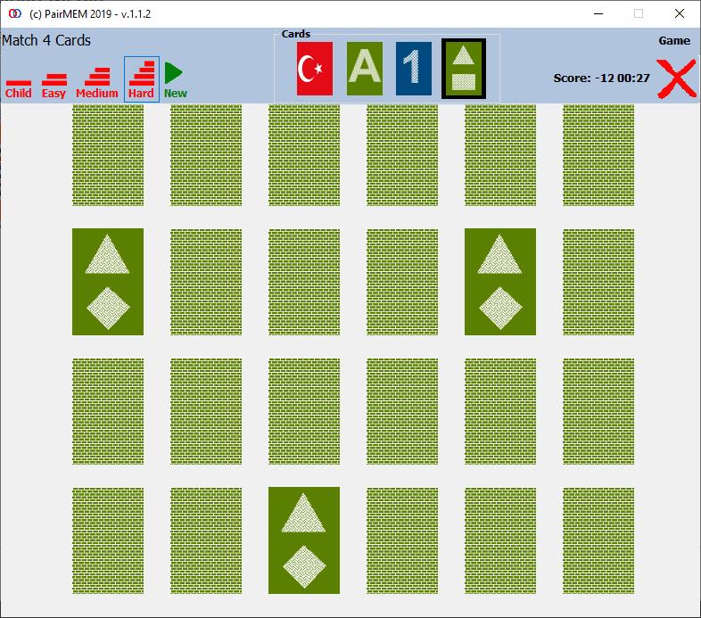 PairMem Free Memory Game Shapes memory game, Hard Level Photos - (Match 4-Cards)