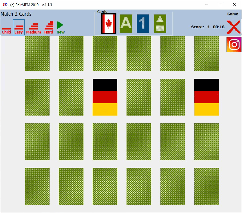 PairMem Flags cards memory game, Easy Level