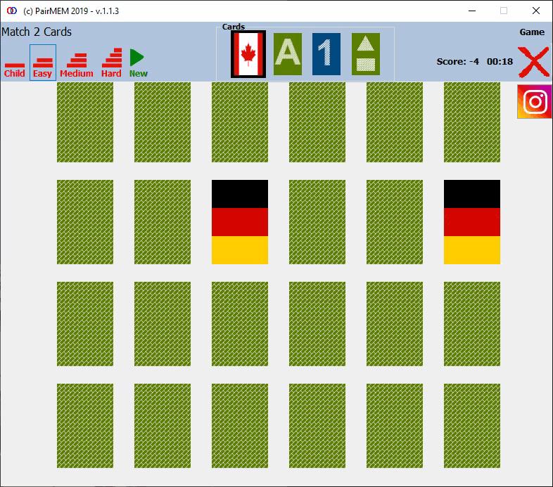 PairMem Flags cards memory game, 쉬운 수준