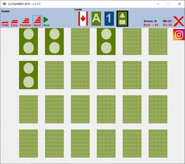 PairMem Shapes card memory game, Hard Level